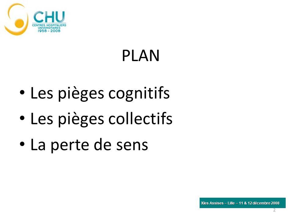 PLAN Les pièges cognitifs Les pièges collectifs La perte de sens 2 XIes Assises – Lille – 11 & 12 décembre 2008