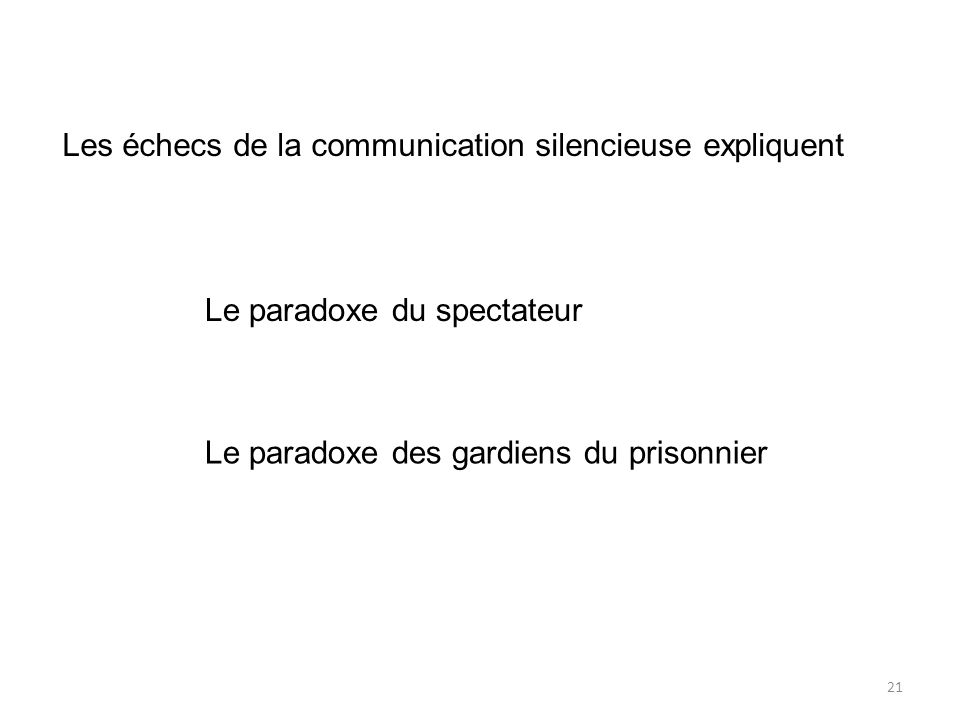 Les échecs de la communication silencieuse expliquent Le paradoxe du spectateur Le paradoxe des gardiens du prisonnier 21