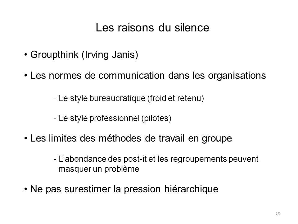 Les raisons du silence Groupthink (Irving Janis) Les normes de communication dans les organisations - Le style bureaucratique (froid et retenu) - Le s