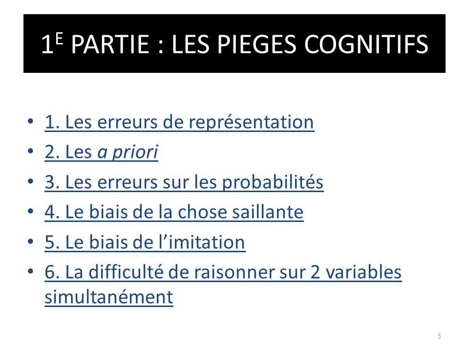1 E PARTIE : LES PIEGES COGNITIFS 1. Les erreurs de représentation 2. Les a priori 3. Les erreurs sur les probabilités 4. Le biais de la chose saillan