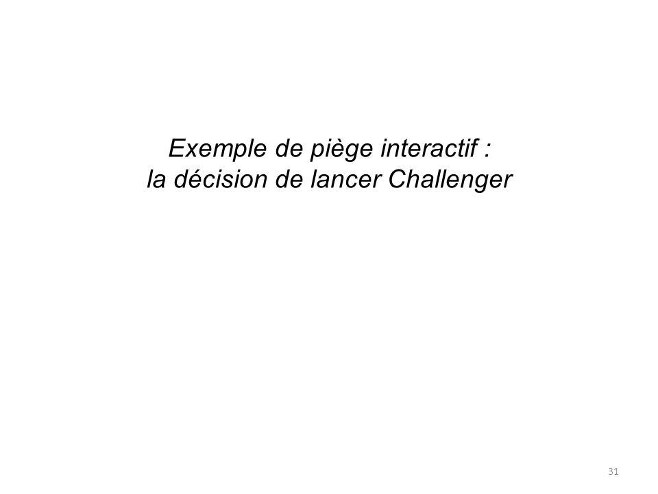 Exemple de piège interactif : la décision de lancer Challenger 31