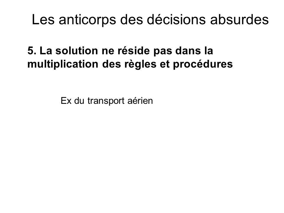 Les anticorps des décisions absurdes 5. La solution ne réside pas dans la multiplication des règles et procédures Ex du transport aérien