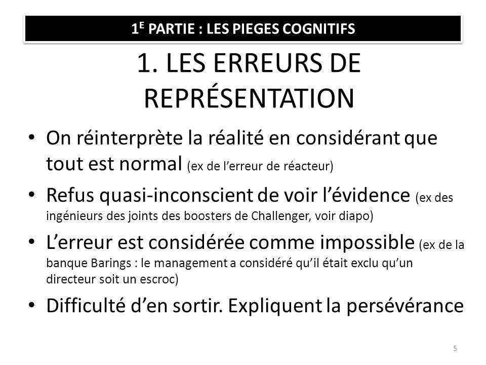 1. LES ERREURS DE REPRÉSENTATION On réinterprète la réalité en considérant que tout est normal (ex de lerreur de réacteur) Refus quasi-inconscient de