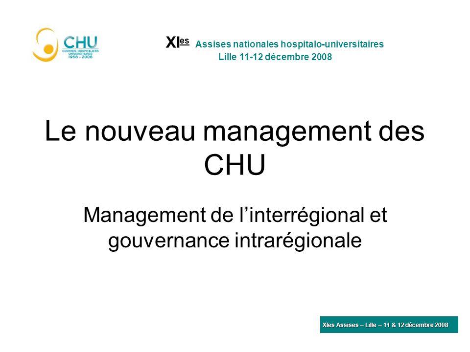 Le nouveau management des CHU Management de linterrégional et gouvernance intrarégionale XI es Assises nationales hospitalo-universitaires Lille 11-12