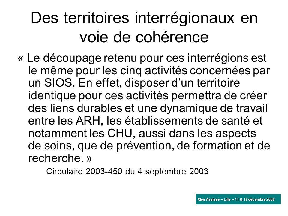 Des territoires interrégionaux en voie de cohérence « Le découpage retenu pour ces interrégions est le même pour les cinq activités concernées par un