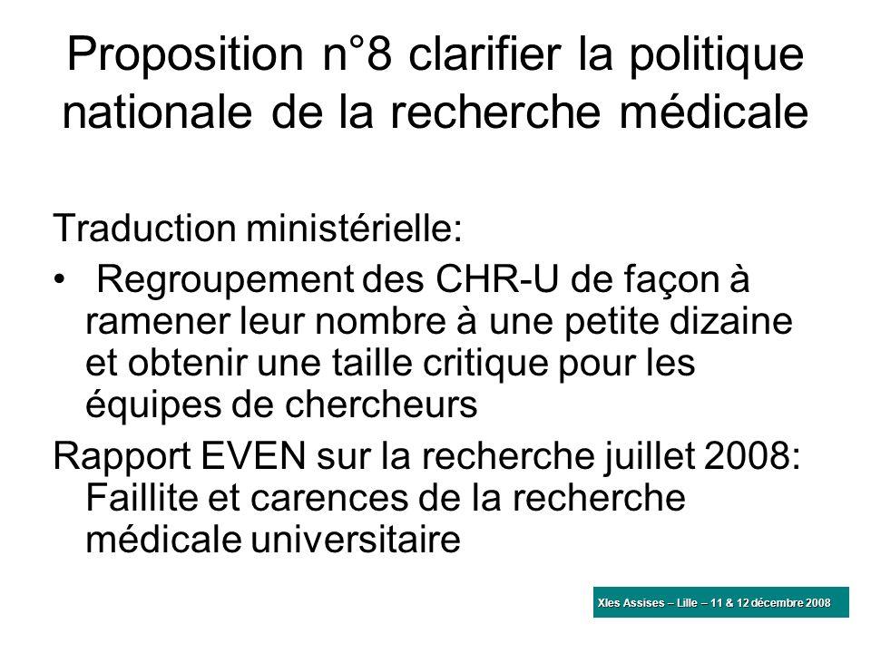Proposition n°8 clarifier la politique nationale de la recherche médicale Traduction ministérielle: Regroupement des CHR-U de façon à ramener leur nom