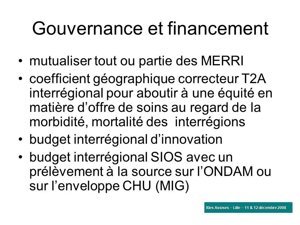 Gouvernance et financement mutualiser tout ou partie des MERRI coefficient géographique correcteur T2A interrégional pour aboutir à une équité en mati