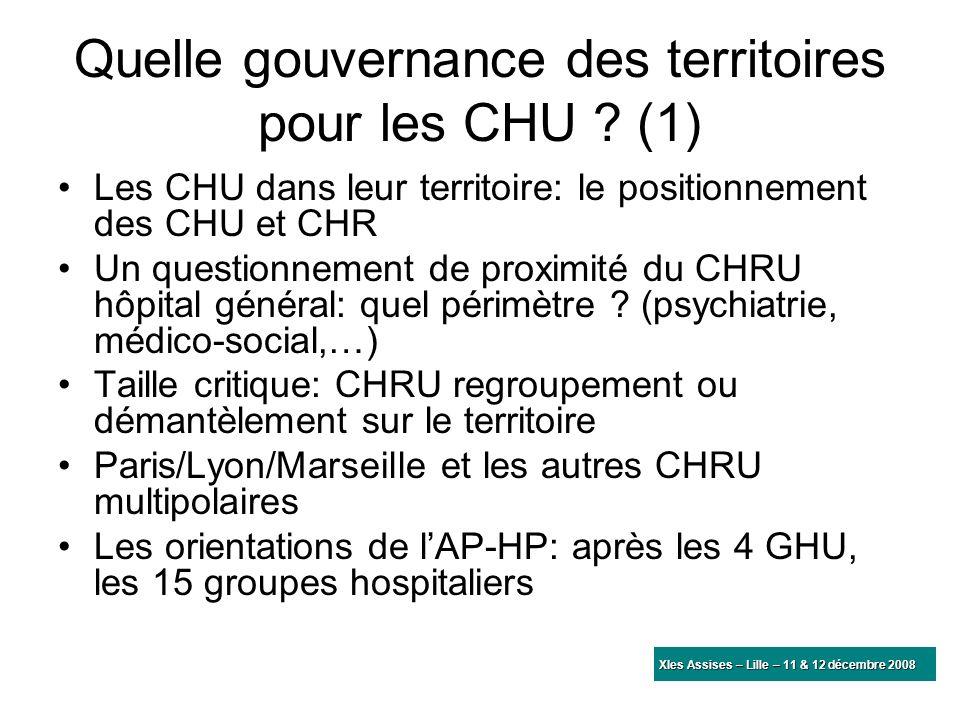 Quelle gouvernance des territoires pour les CHU ? (1) Les CHU dans leur territoire: le positionnement des CHU et CHR Un questionnement de proximité du
