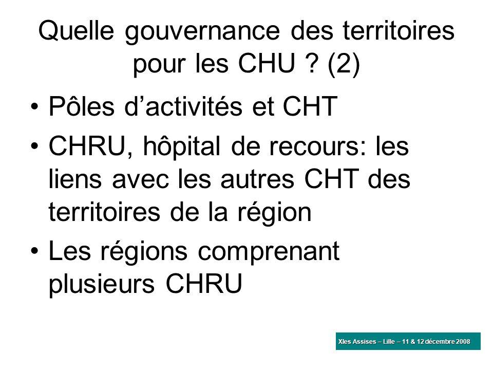 Quelle gouvernance des territoires pour les CHU ? (2) Pôles dactivités et CHT CHRU, hôpital de recours: les liens avec les autres CHT des territoires