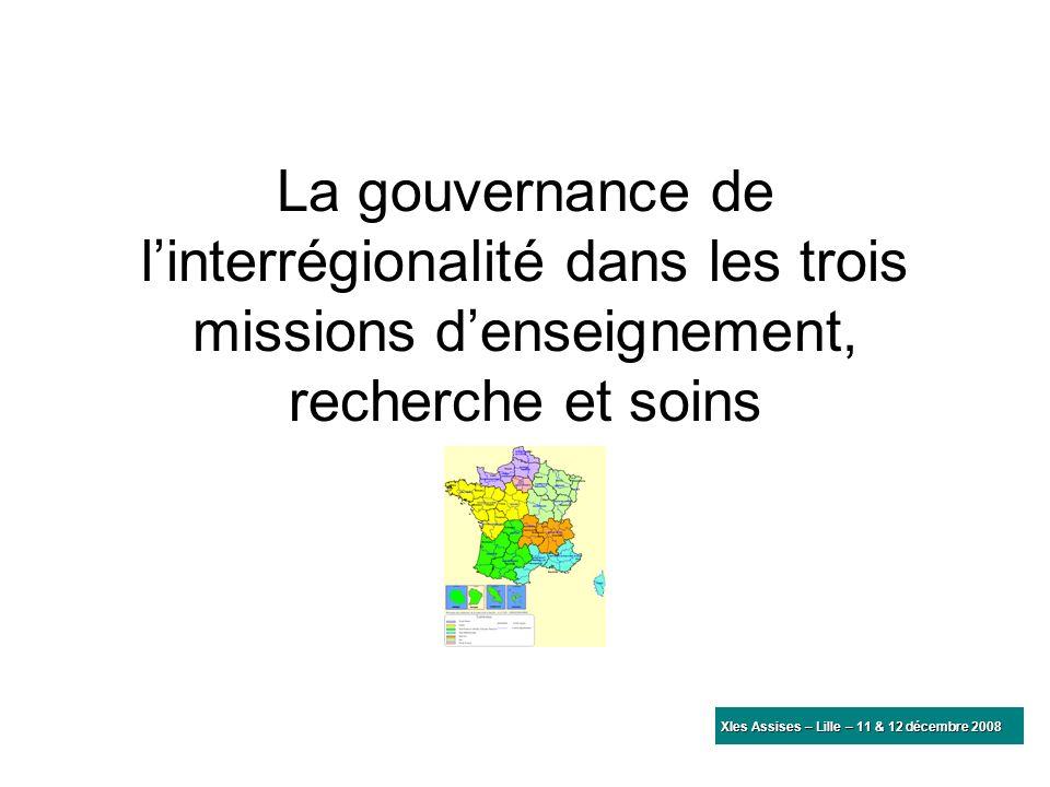 La gouvernance de linterrégionalité dans les trois missions denseignement, recherche et soins XIes Assises – Lille – 11 & 12 décembre 2008