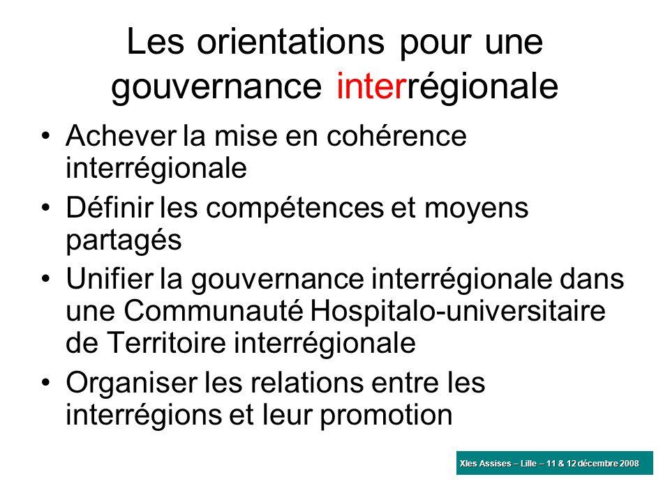 Les orientations pour une gouvernance interrégionale Achever la mise en cohérence interrégionale Définir les compétences et moyens partagés Unifier la