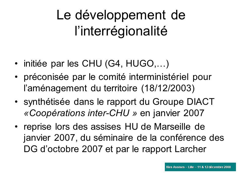 Le développement de linterrégionalité initiée par les CHU (G4, HUGO,…) préconisée par le comité interministériel pour laménagement du territoire (18/1
