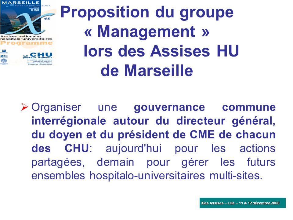Proposition du groupe « Management » lors des Assises HU de Marseille Organiser une gouvernance commune interrégionale autour du directeur général, du