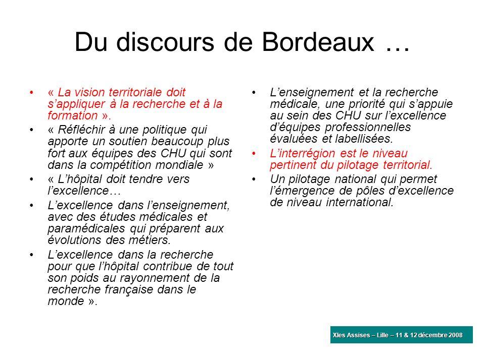 Du discours de Bordeaux … « La vision territoriale doit sappliquer à la recherche et à la formation ». « Réfléchir à une politique qui apporte un sout
