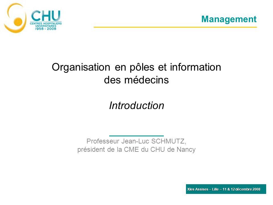 Management Organisation en pôles et information des médecins Introduction Professeur Jean-Luc SCHMUTZ, président de la CME du CHU de Nancy XIes Assise