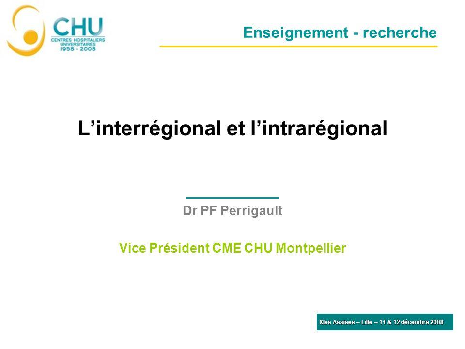 Enseignement - recherche Linterrégional et lintrarégional Dr PF Perrigault Vice Président CME CHU Montpellier XIes Assises – Lille – 11 & 12 décembre