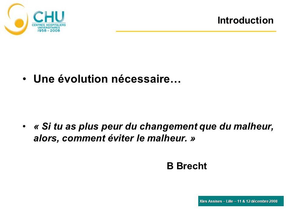 Introduction Une évolution nécessaire… « Si tu as plus peur du changement que du malheur, alors, comment éviter le malheur. » B Brecht XIes Assises –