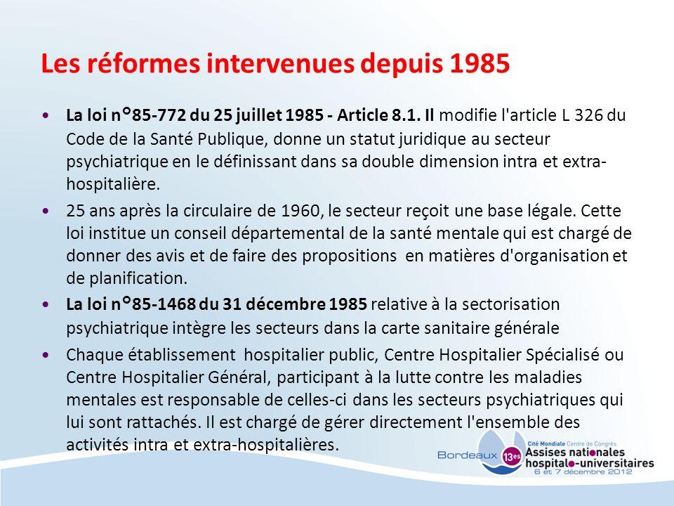 Les réformes intervenues depuis 1985 La loi n°85-772 du 25 juillet 1985 - Article 8.1. Il modifie l'article L 326 du Code de la Santé Publique, donne