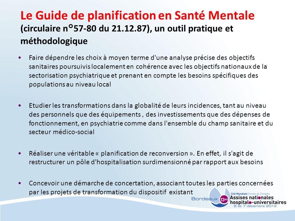 Le Guide de planification en Santé Mentale (circulaire n°57-80 du 21.12.87), un outil pratique et méthodologique Faire dépendre les choix à moyen term