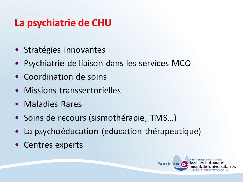 La psychiatrie de CHU Stratégies Innovantes Psychiatrie de liaison dans les services MCO Coordination de soins Missions transsectorielles Maladies Rar
