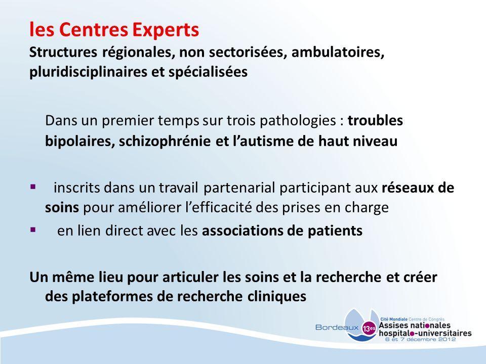 les Centres Experts Structures régionales, non sectorisées, ambulatoires, pluridisciplinaires et spécialisées Dans un premier temps sur trois patholog