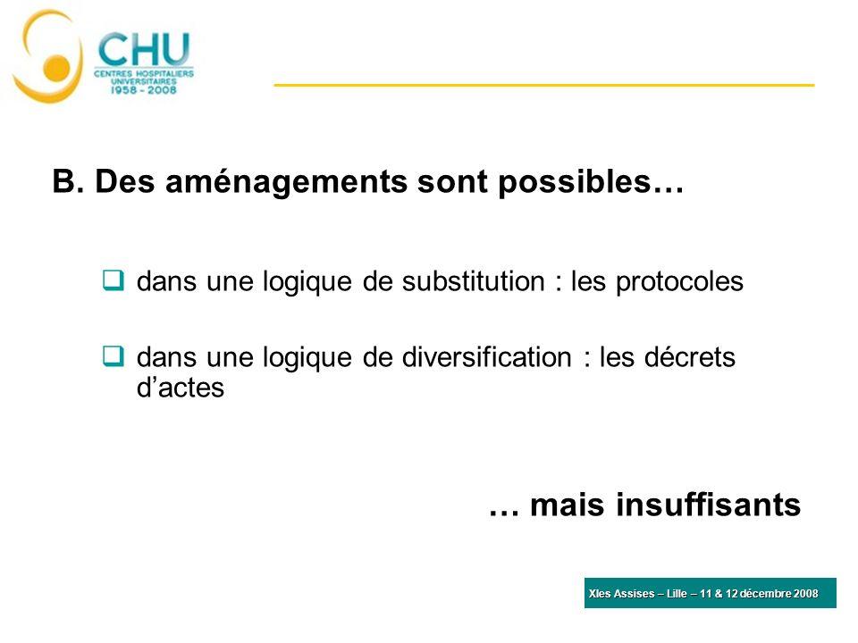 B. Des aménagements sont possibles… dans une logique de substitution : les protocoles dans une logique de diversification : les décrets dactes … mais