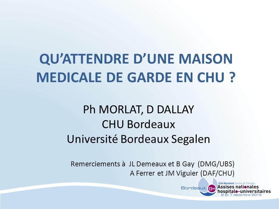 QUATTENDRE DUNE MAISON MEDICALE DE GARDE EN CHU ? Ph MORLAT, D DALLAY CHU Bordeaux Université Bordeaux Segalen Remerciements à JL Demeaux et B Gay (DM