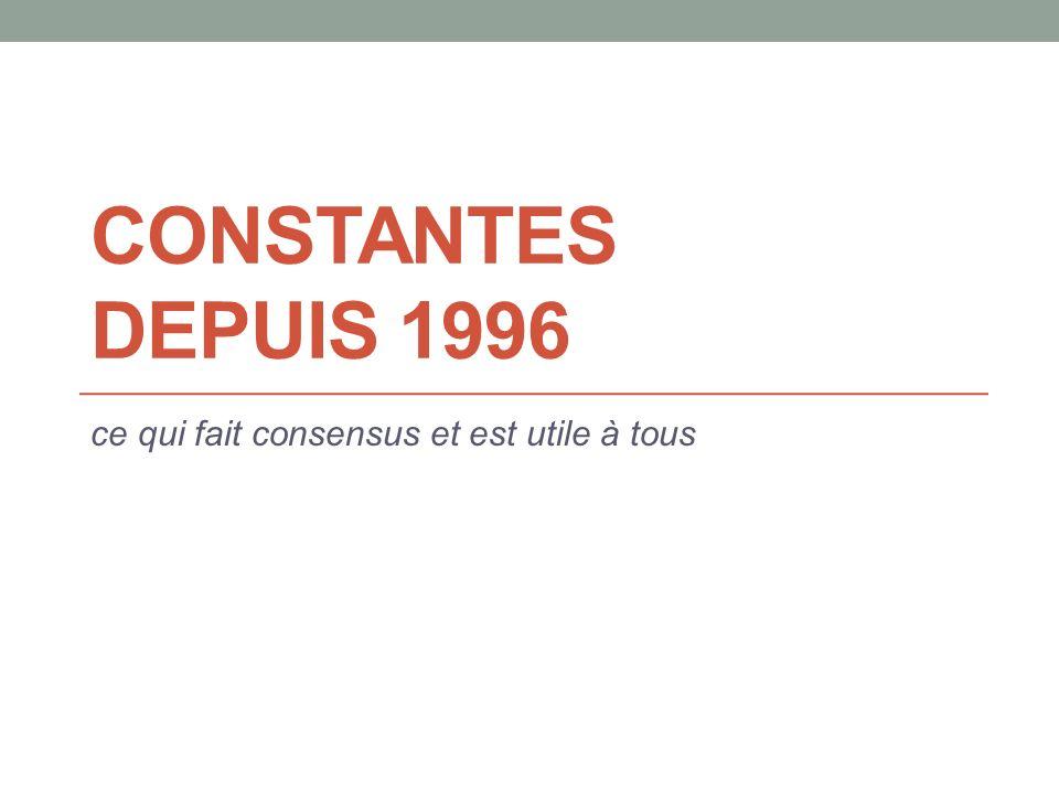 CONSTANTES DEPUIS 1996 ce qui fait consensus et est utile à tous