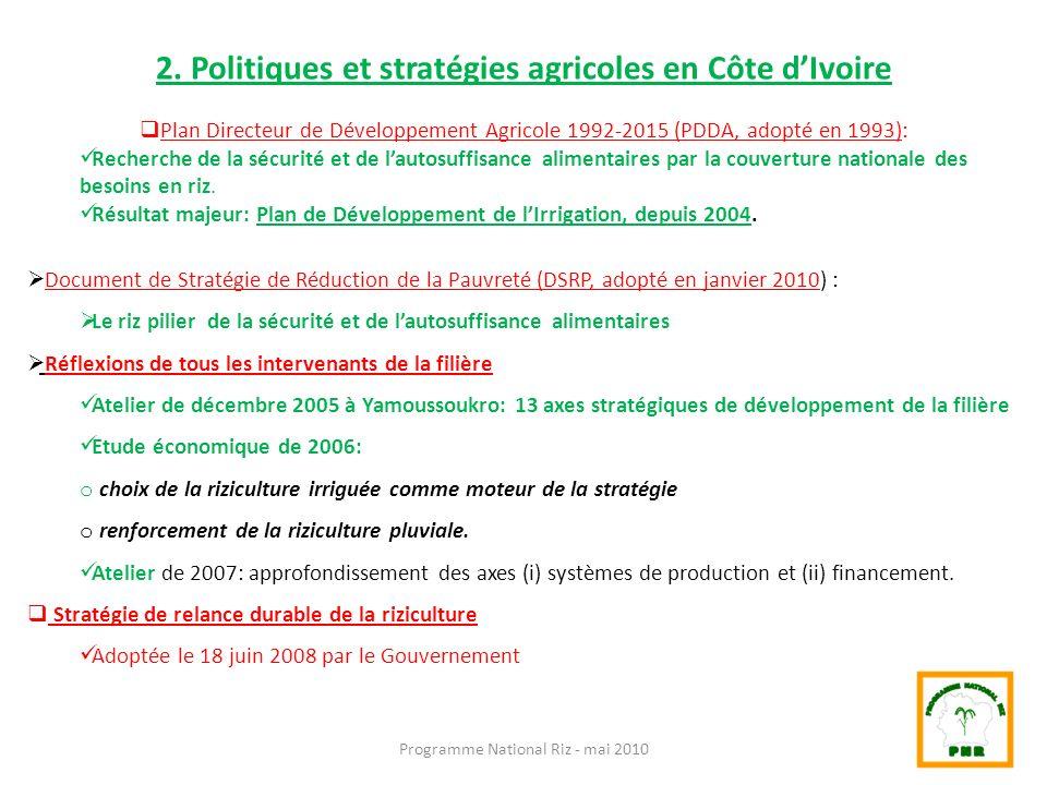 2. Politiques et stratégies agricoles en Côte dIvoire Plan Directeur de Développement Agricole 1992-2015 (PDDA, adopté en 1993): Recherche de la sécur