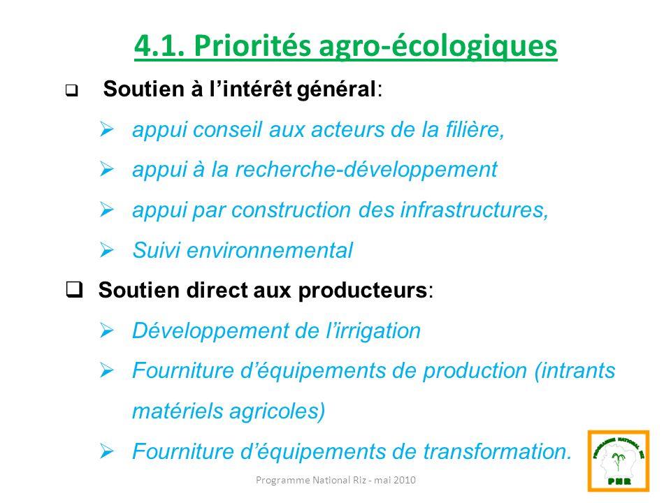 Programme National Riz - mai 2010 4.1. Priorités agro-écologiques Soutien à lintérêt général: appui conseil aux acteurs de la filière, appui à la rech