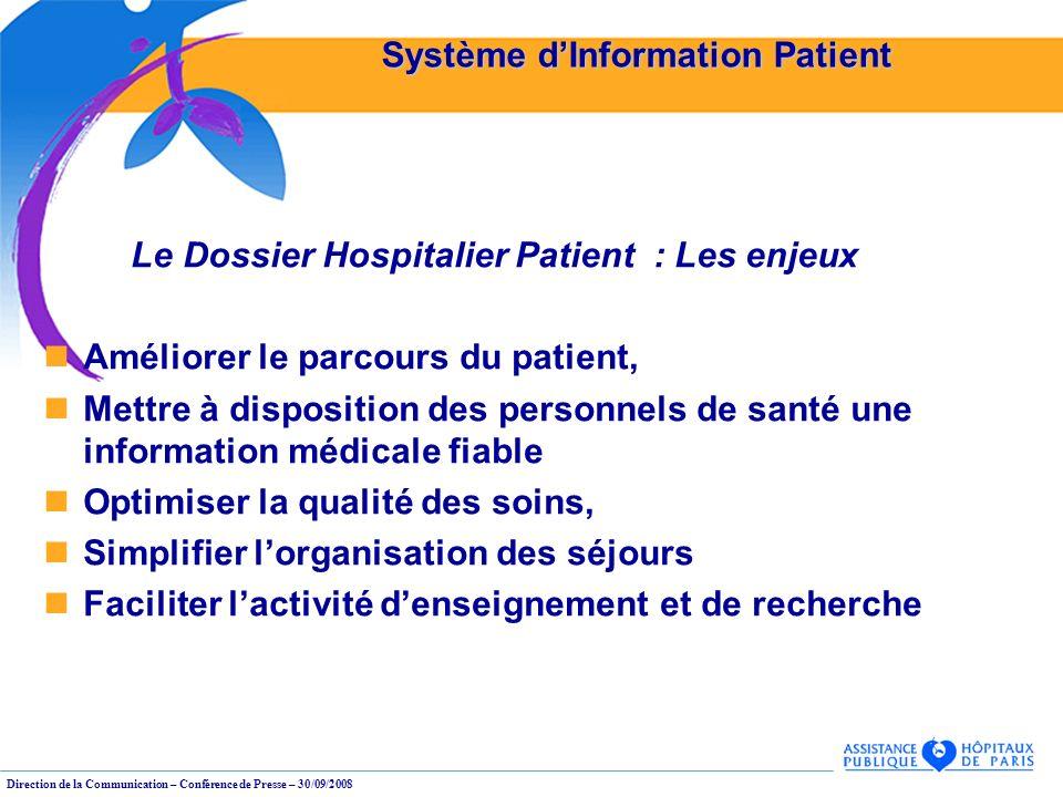 Direction de la Communication – Conférence de Presse – 30/09/2008 Système dInformation Patient Le Dossier Hospitalier Patient : Les enjeux Améliorer l