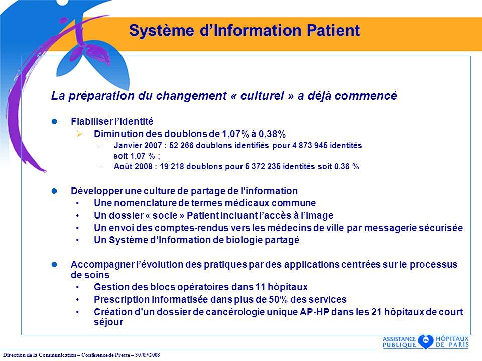 Direction de la Communication – Conférence de Presse – 30/09/2008 La préparation du changement « culturel » a déjà commencé Fiabiliser lidentité Dimin