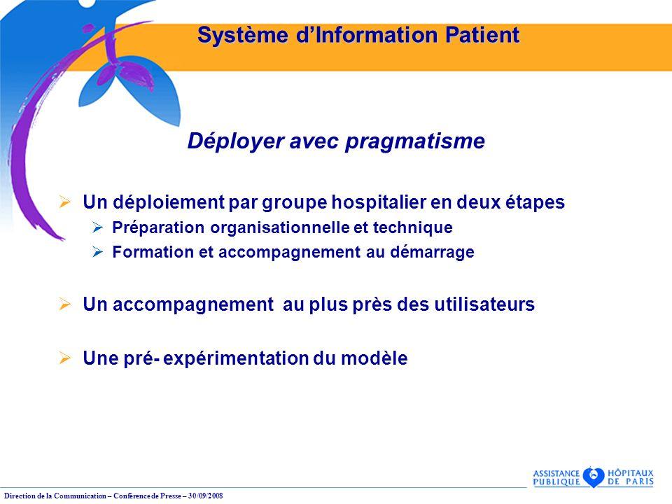 Direction de la Communication – Conférence de Presse – 30/09/2008 Système dInformation Patient Déployer avec pragmatisme Un déploiement par groupe hos