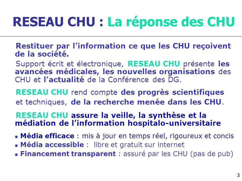 RESEAU CHU : La réponse des CHU Restituer par linformation ce que les CHU reçoivent de la société. Support écrit et électronique, RESEAU CHU présente
