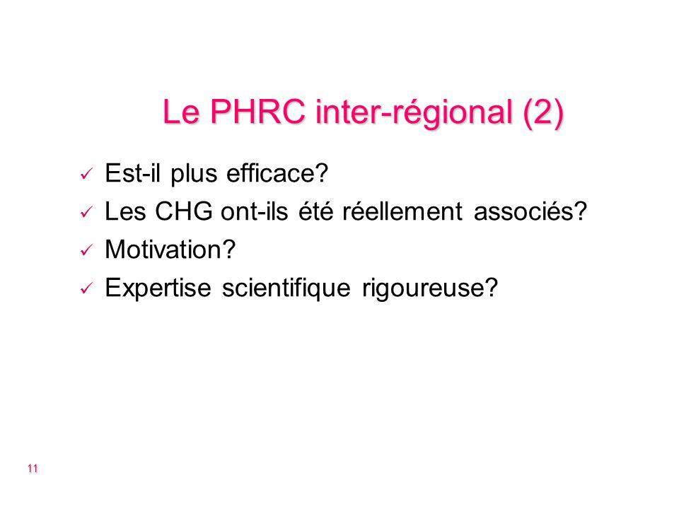 Le PHRC inter-régional (2) Est-il plus efficace. Les CHG ont-ils été réellement associés.