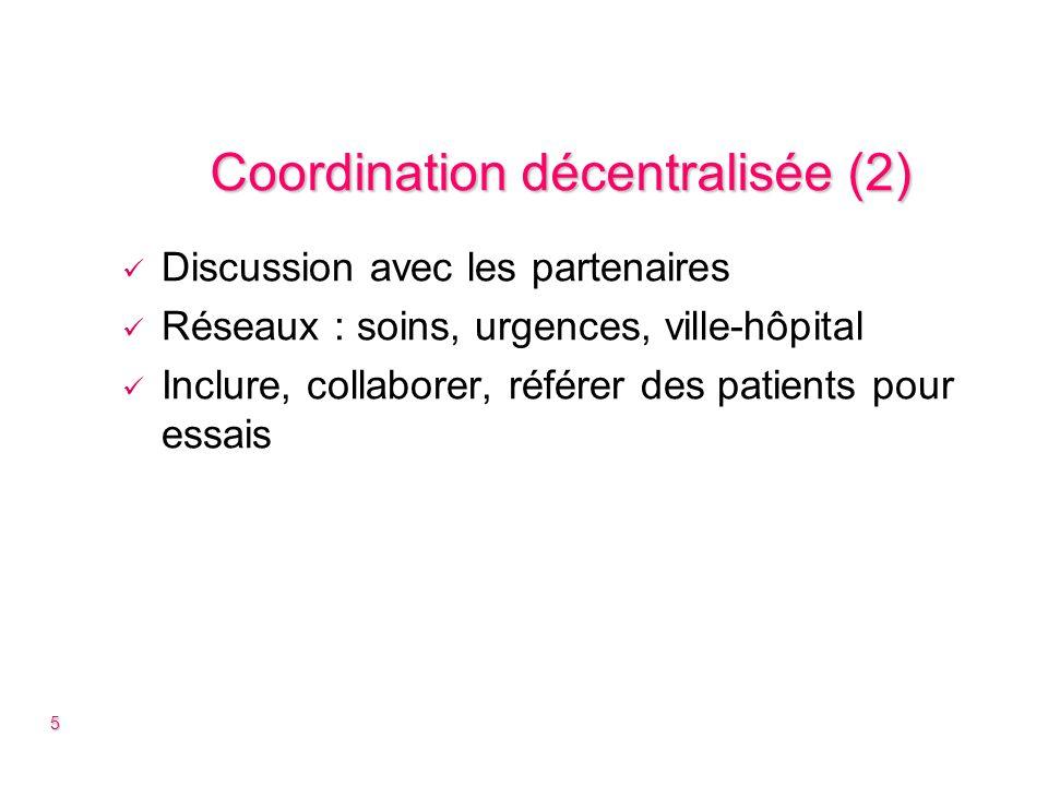 Coordination décentralisée (3) DIRC/GIRCI : Mise en commun : outils, moyens, compétences Collaborations inter-régionales PHRC inter-régional : Limiter les conflits dintérêts Projets plus ambitieux Accélérer le recrutement 6