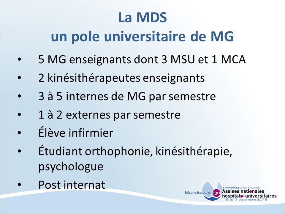 La MDS un pole universitaire de MG 5 MG enseignants dont 3 MSU et 1 MCA 2 kinésithérapeutes enseignants 3 à 5 internes de MG par semestre 1 à 2 extern