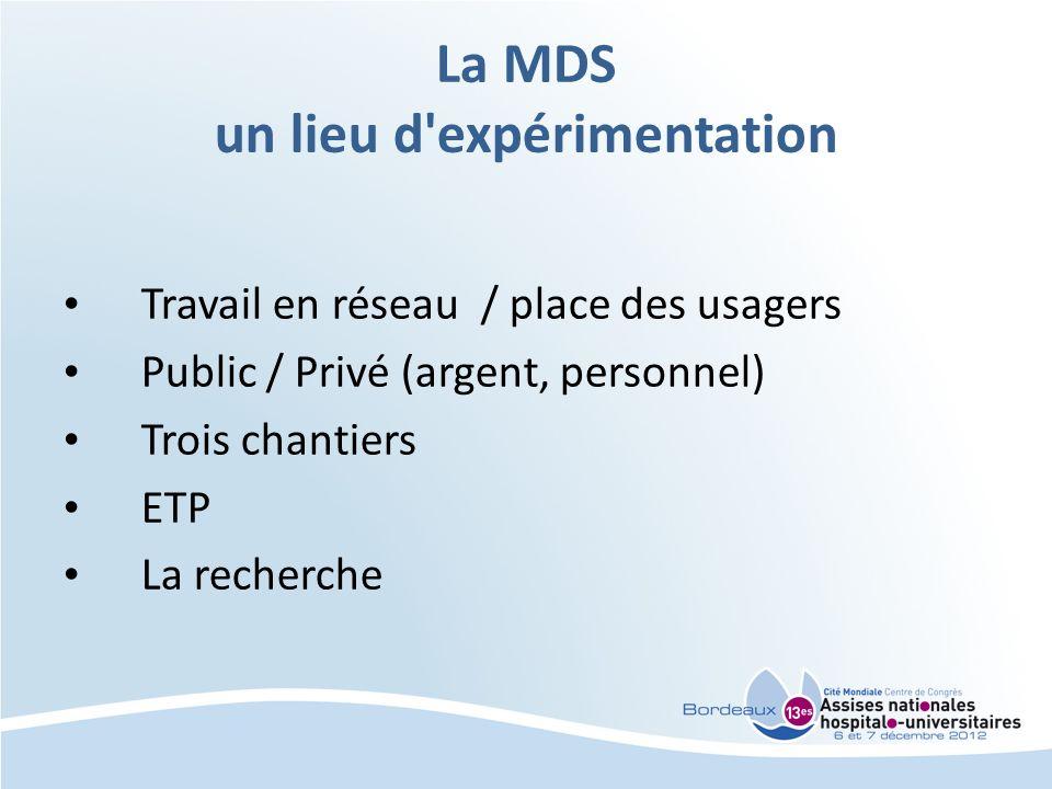 La MDS un lieu d'expérimentation Travail en réseau / place des usagers Public / Privé (argent, personnel) Trois chantiers ETP La recherche