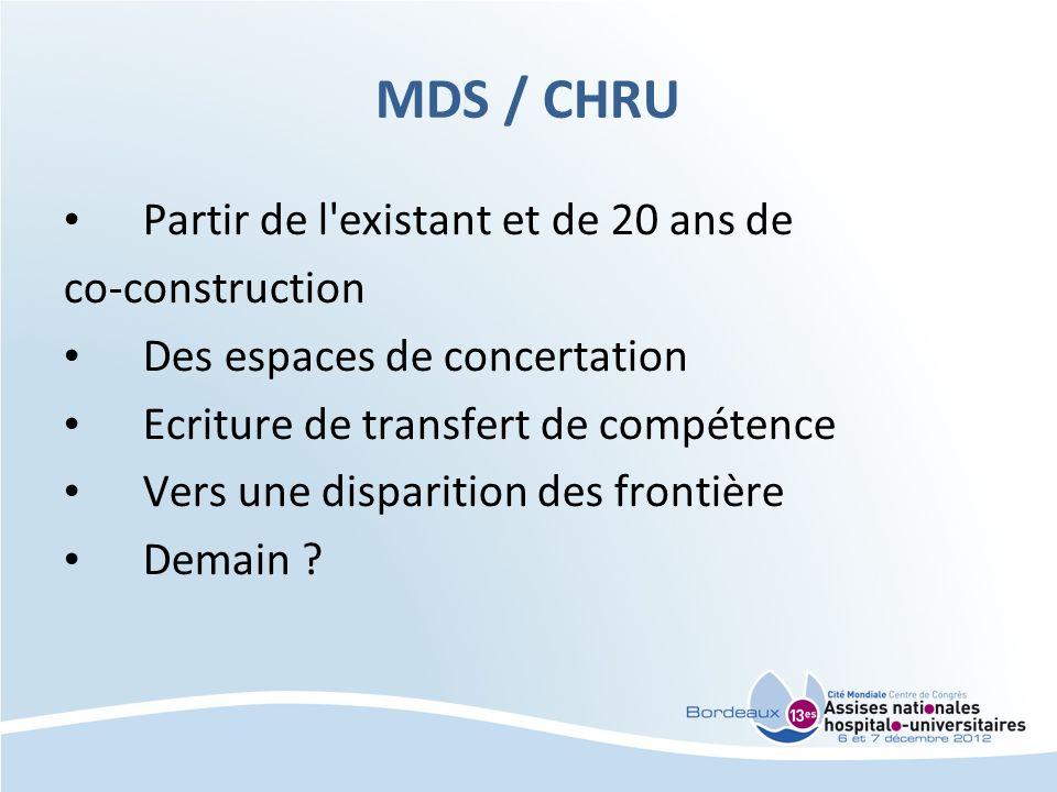 MDS / CHRU Partir de l'existant et de 20 ans de co-construction Des espaces de concertation Ecriture de transfert de compétence Vers une disparition d