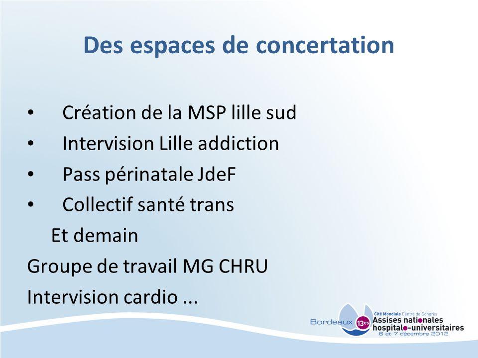 Des espaces de concertation Création de la MSP lille sud Intervision Lille addiction Pass périnatale JdeF Collectif santé trans Et demain Groupe de tr