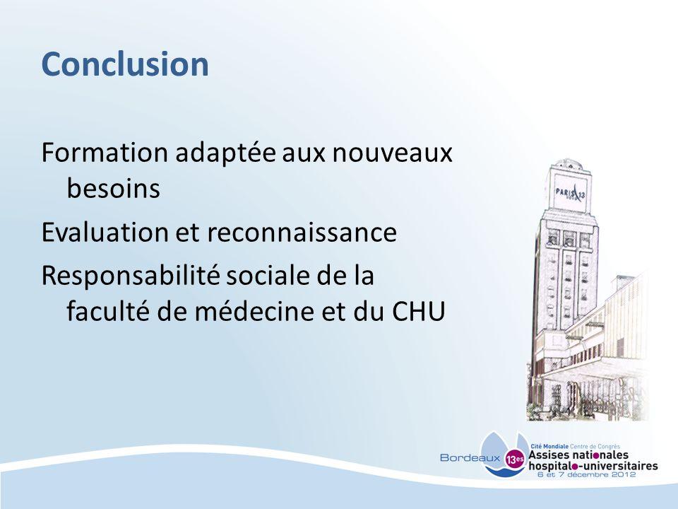 Conclusion Formation adaptée aux nouveaux besoins Evaluation et reconnaissance Responsabilité sociale de la faculté de médecine et du CHU