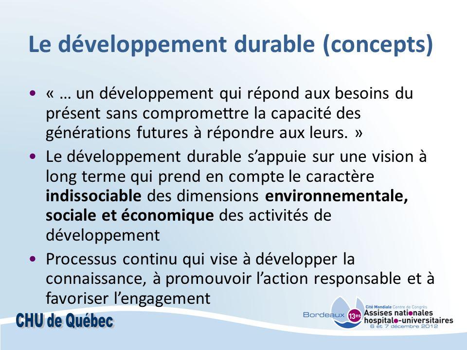 Le développement durable (concepts) « … un développement qui répond aux besoins du présent sans compromettre la capacité des générations futures à répondre aux leurs.