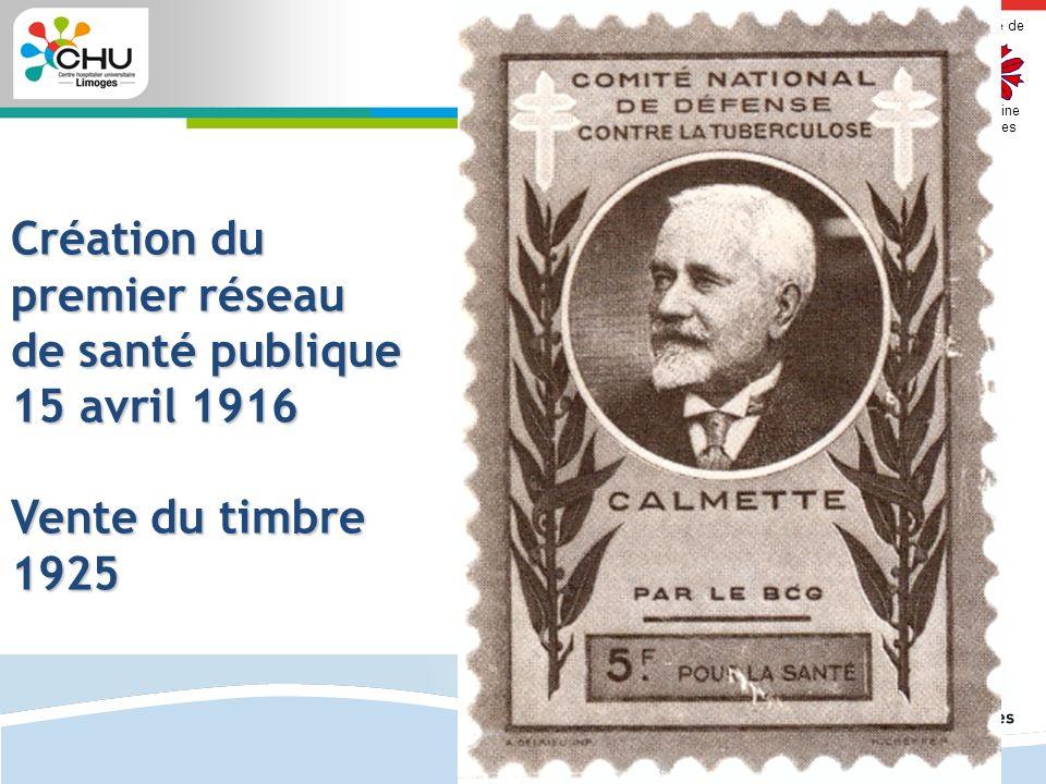 Faculté de Médecine Limoges 2 Création du premier réseau de santé publique 15 avril 1916 Vente du timbre 1925