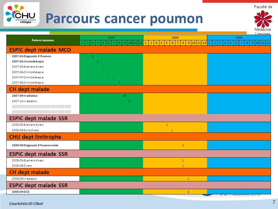 Faculté de Médecine Limoges 7 Patient xxxxxxxx 20072009 1 23 4 5 67 8 91011121 23 4 5 67 8 91011121 23 4 5 67 8 9101112 ESPIC dept malade MCO 2007-03-