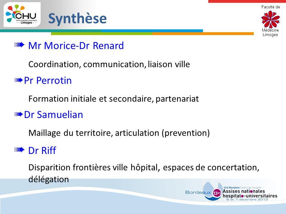 Faculté de Médecine Limoges Synthèse Mr Morice-Dr Renard Coordination, communication, liaison ville Pr Perrotin Formation initiale et secondaire, part