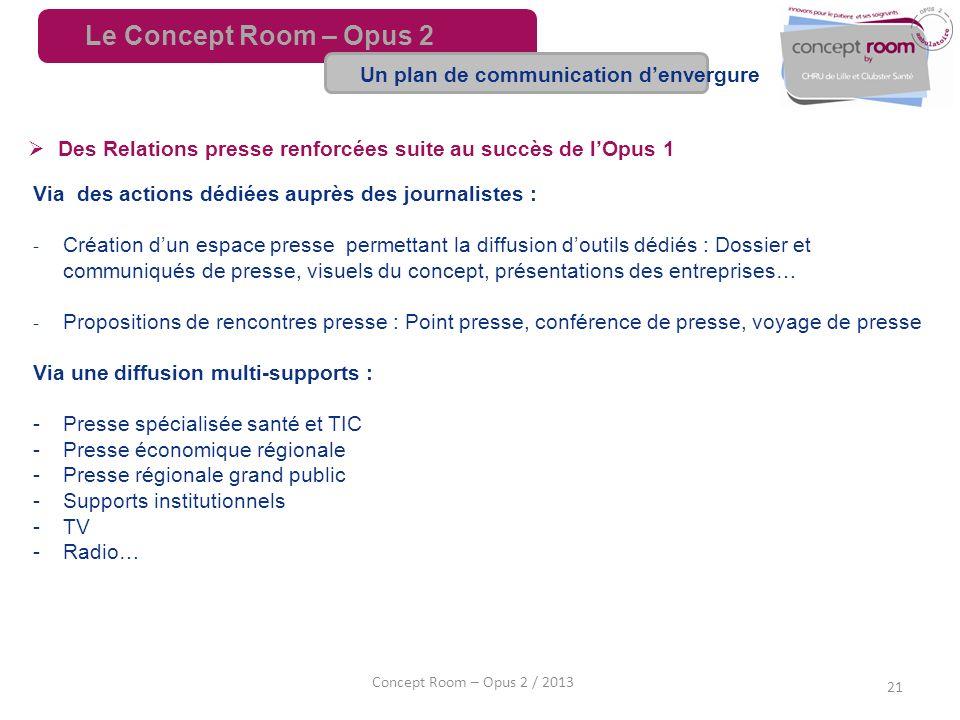 21 Concept Room – Opus 2 / 2013 Des Relations presse renforcées suite au succès de lOpus 1 Via des actions dédiées auprès des journalistes : Création