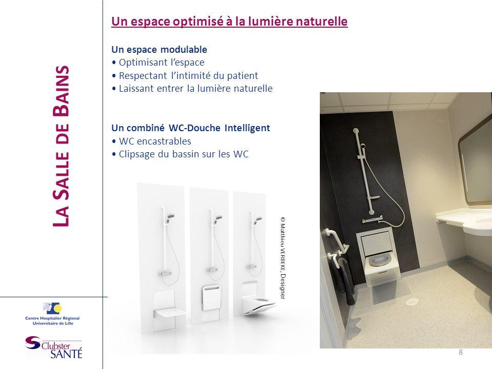 L A S ALLE DE B AINS Un espace optimisé à la lumière naturelle Un espace modulable Optimisant lespace Respectant lintimité du patient Laissant entrer