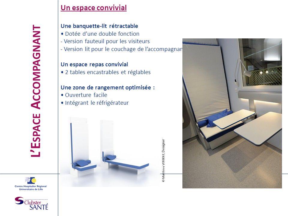 LE SPACE A CCOMPAGNANT Un espace convivial Une banquette-lit rétractable Dotée dune double fonction - Version fauteuil pour les visiteurs - Version li