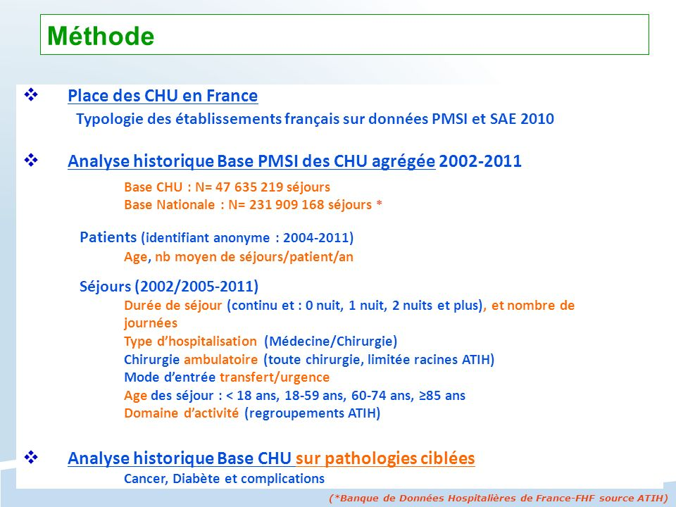 Place des CHU en France Typologie des établissements français sur données PMSI et SAE 2010 Analyse historique Base PMSI des CHU agrégée 2002-2011 Base
