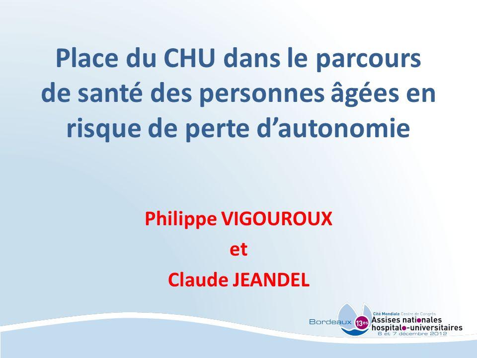 Place du CHU dans le parcours de santé des personnes âgées en risque de perte dautonomie Philippe VIGOUROUX et Claude JEANDEL